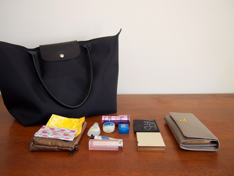 longchamp les planetes tote and bag contents