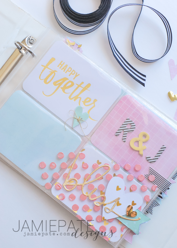 How to create a pre-made pocket album for a wedding shower. Make room for photos or journaling. @jamiepate