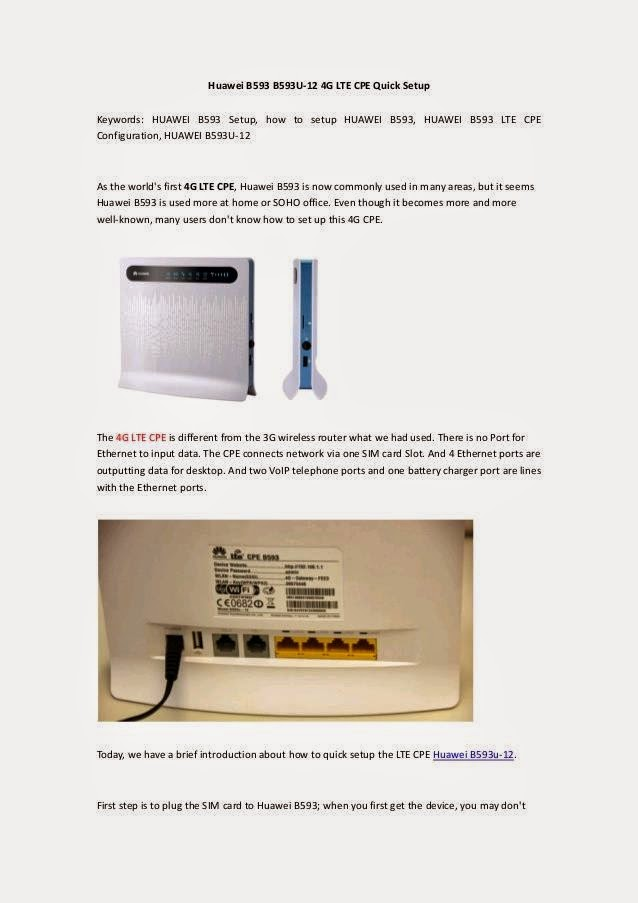 LTE CPE B593 MANUAL