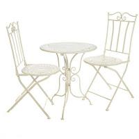 set mesa y sillas exterior forja blanca