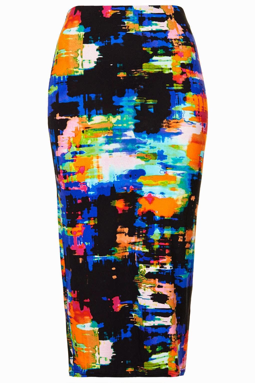 bright print tube skirt