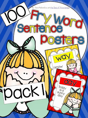 http://www.teacherspayteachers.com/Product/First-100-Fry-Sight-Words-Sentence-Posters-K-G1-970639