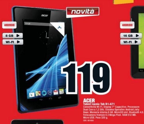 Novità tablet jelly bean a basso costo sul volantino Mediaworld  a soli 119 euro