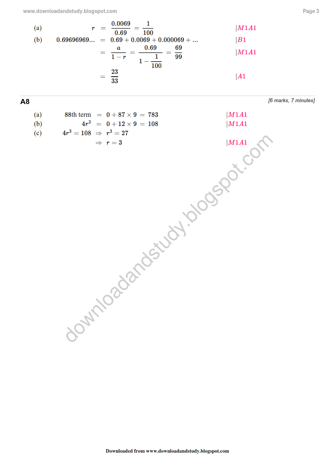Arithmetic series practice worksheet 2 answers