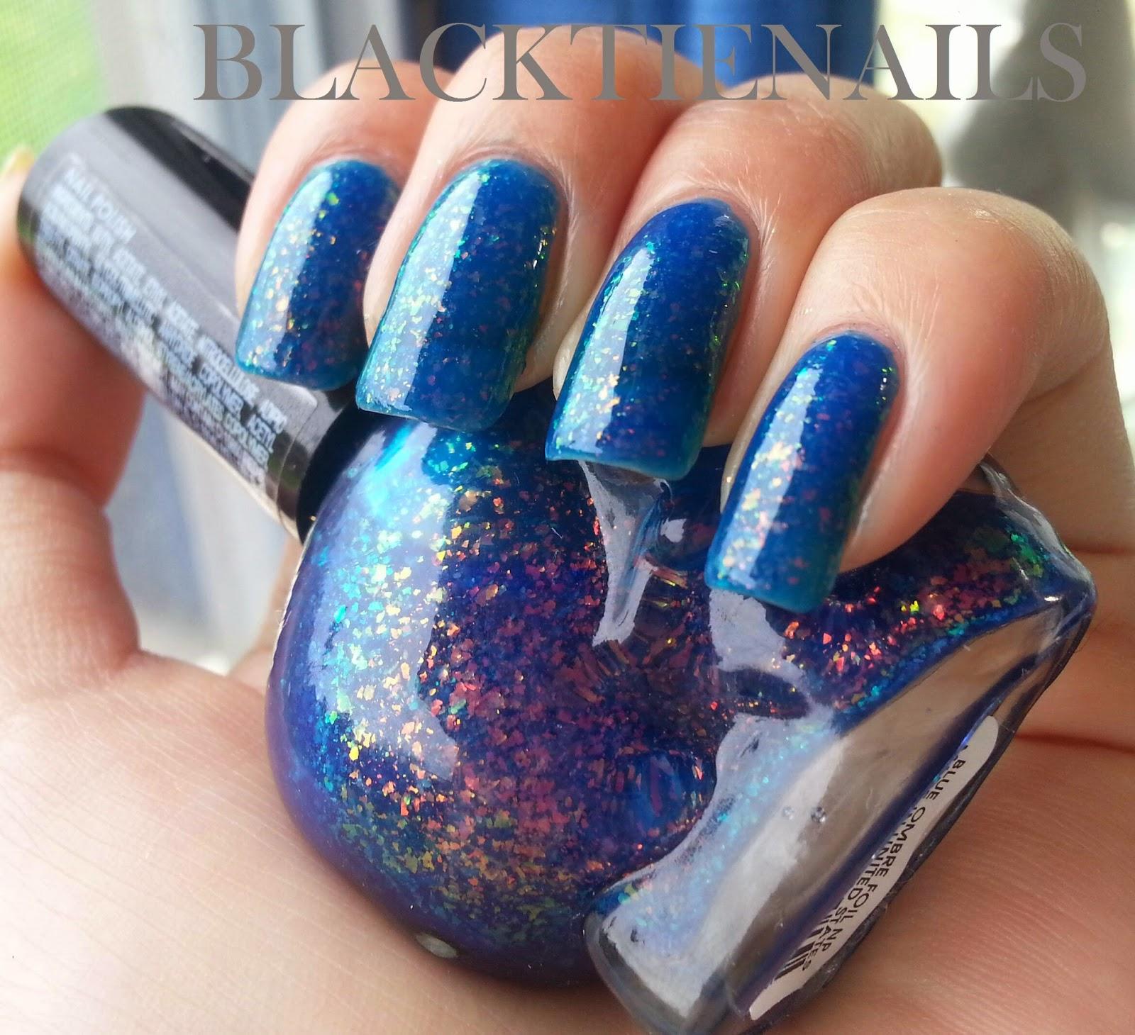 Black Tie Nails: Blackheart Beauty Blue Ombre Foil Nail Polish ...