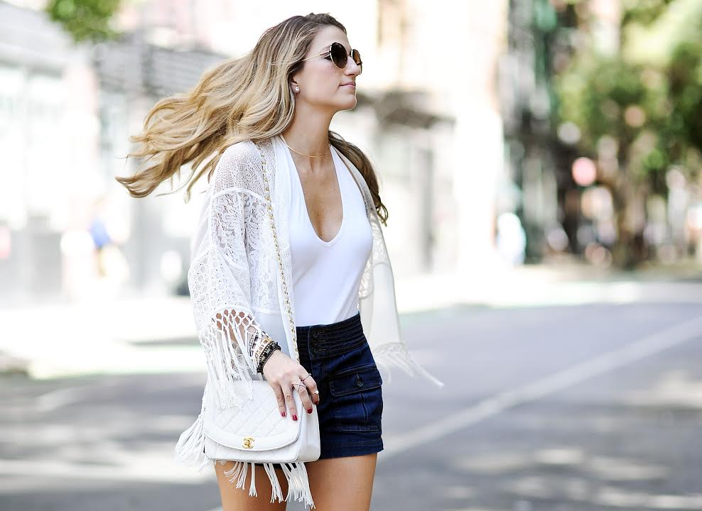 forever21 high-waisted shorts, white lace kimono