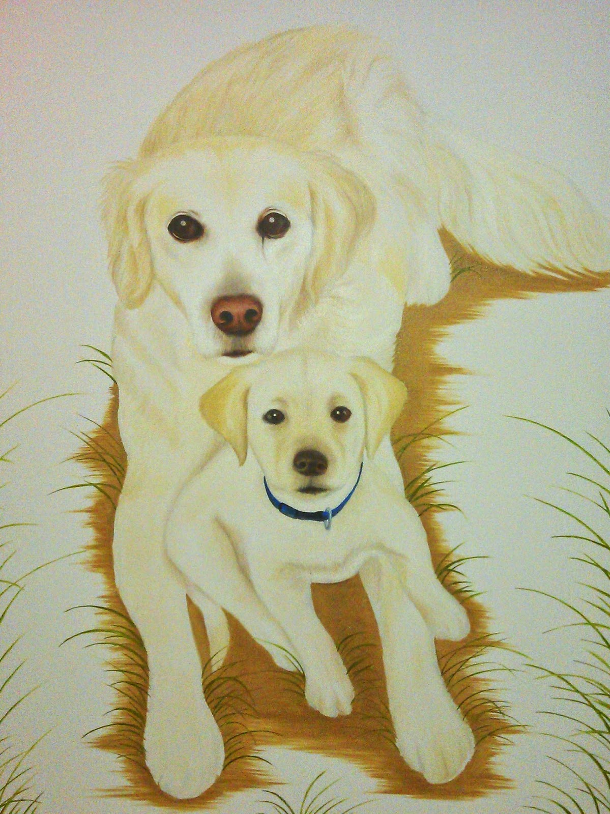Yellow Labrador and Pup - Portrait Painting of Barney and Mollie