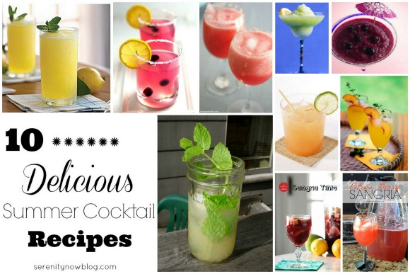 A round-up of 10 Summer Cocktail Recipes at Serenity Now