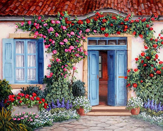 cuadros-de-casas-con-jardines