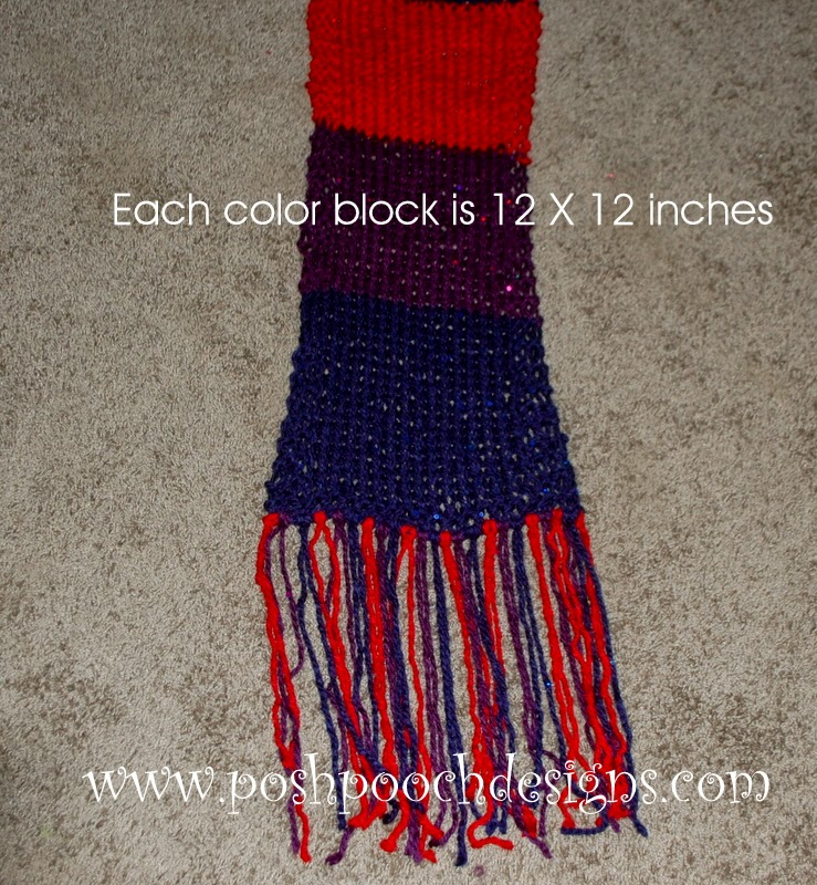 Posh Pooch Designs Dog Clothes: Color Block Chunky Scarf - Free Knitting Pattern