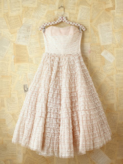 Vintage pink tiered lace and tulle strapless dress