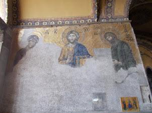 "13 the Century Christian  Mosaic panel on ""Upper Gallery"" of Hagia Sophia."