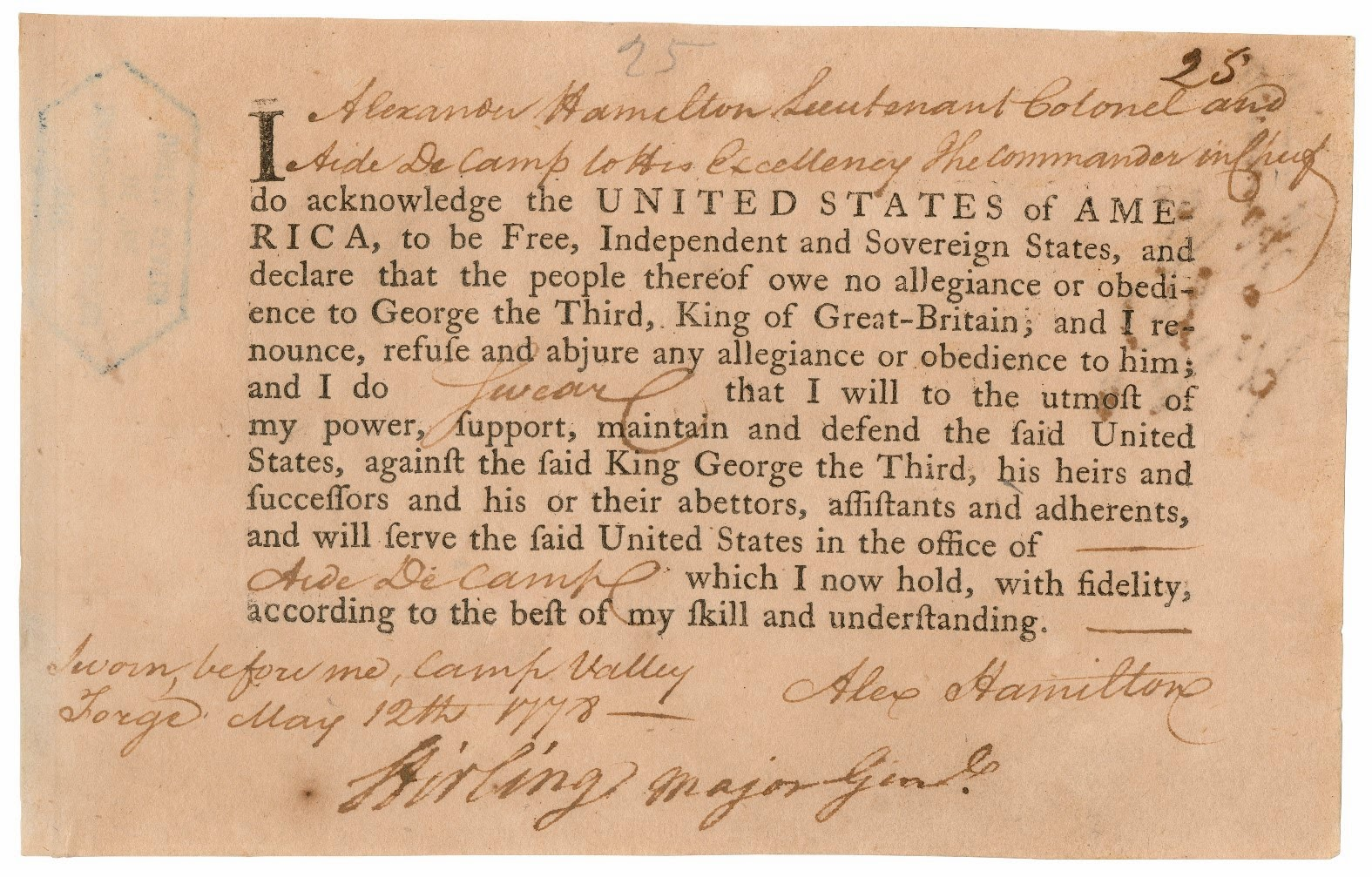 alexander hamilton alexander hamilton s oath of allegiance dated 12 1778 as aide de camp to commander in chief george washington from the war department collection of