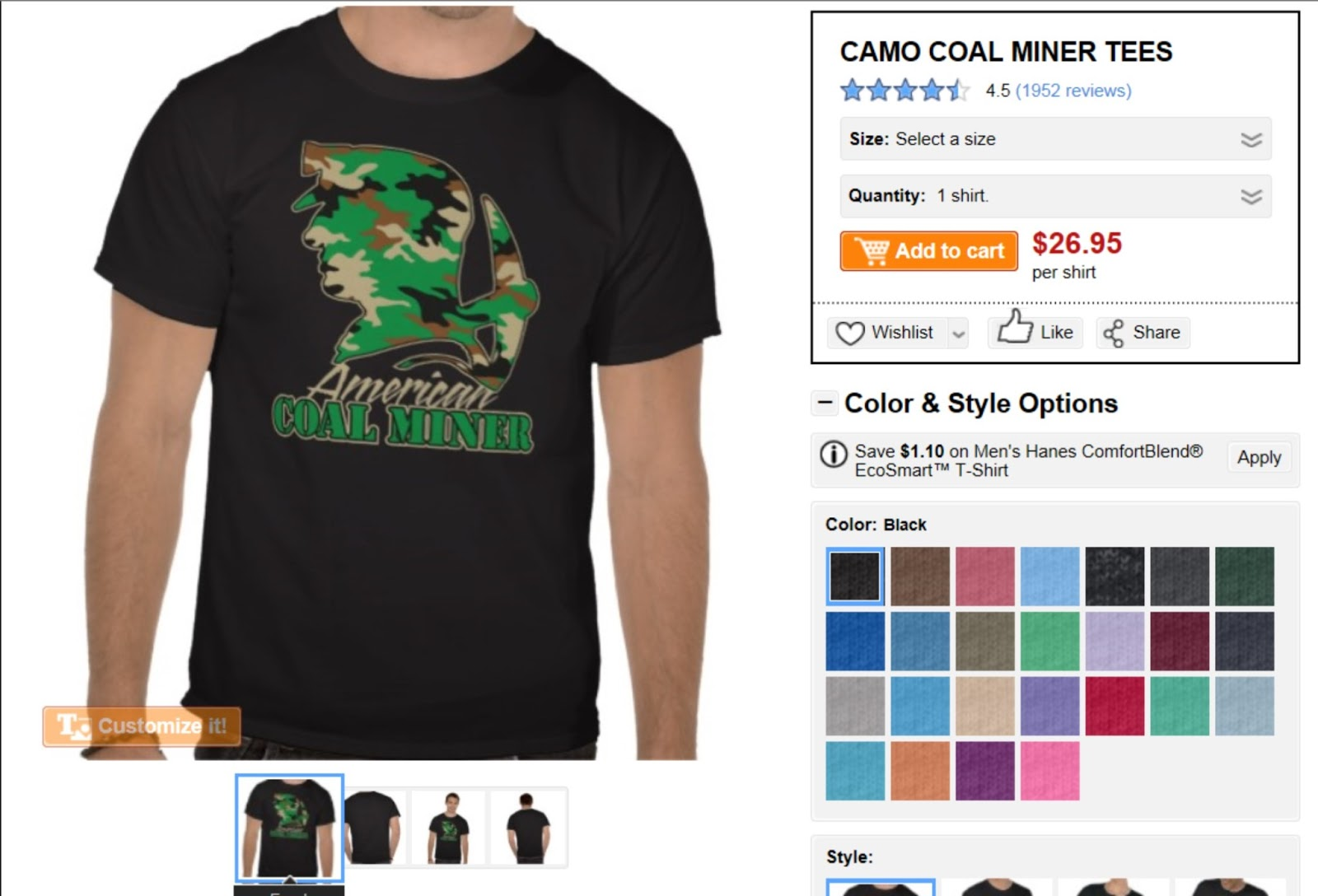 Zazzle t shirt design size - Camo Coal Miner T Shirt By Earl Ferguson
