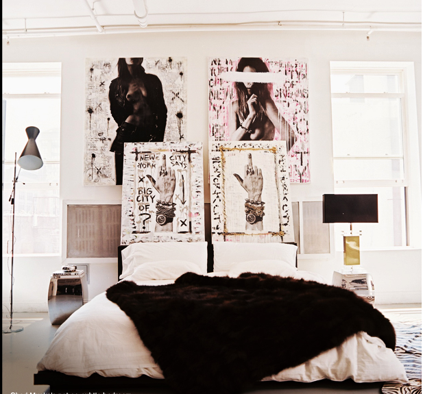 Chanel after coco interior design bed fur throw for Edgy living room ideas