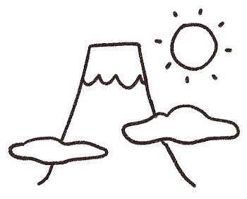 初日の出のイラスト「富士山での元旦」(お正月) 線画