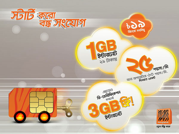 Banglalink 2016 january bondho sim offer 1GB at tk29