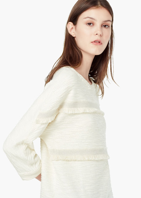 mango cream top, cream frill jumper,