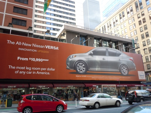Nissan Versa car billboard NYC