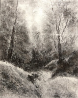 Original charcoal painting of landscape from Narkanda by Manju Panchal