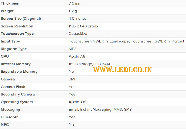 Apple iPhone 5 Specifications