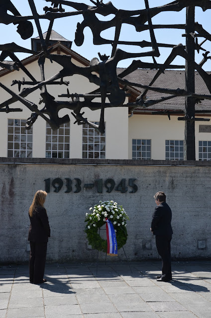 Secretary  Napolitano and White House Deputy Homeland Security Advisor Heidi Avery  lay a wreath and observe a moment of silence in remembrance of those  who were imprisoned, tortured or killed at Dachau Concentration Camp.