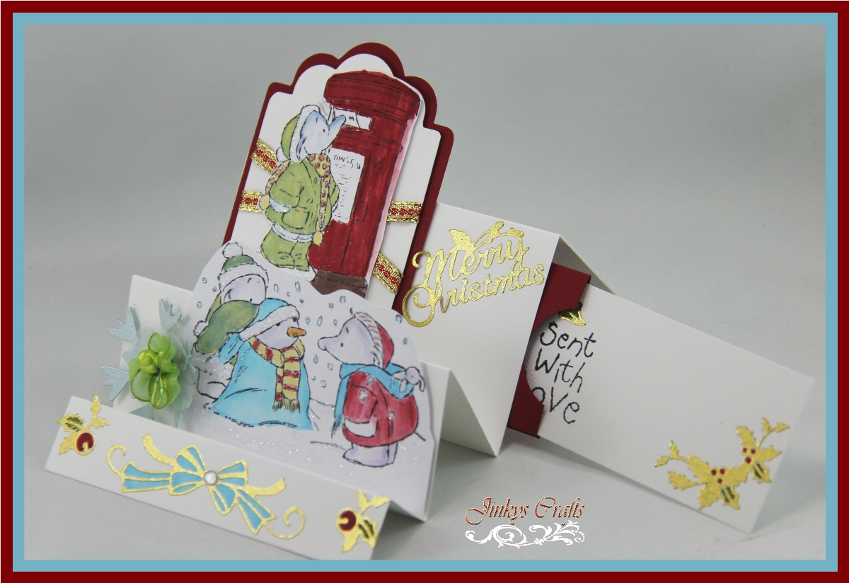 Jinky 39 s crafts designs fun fold christmas card with for How to make folded christmas cards