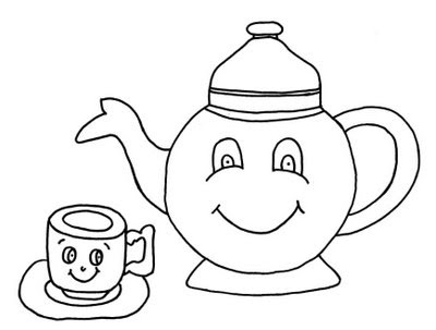 Desenhos de bules e xícaras para sua arte.