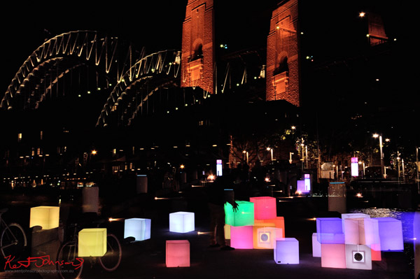 Light cubes on walkway (before being tossed in water),  Walsh Bay, Vivid Sydney