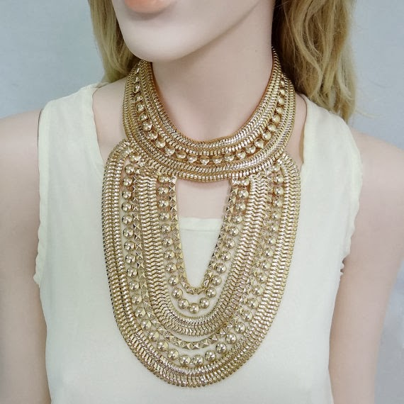 Art Deco Style Golden Chain Necklace, Choker Bubble Necklace, Statement Necklace, Chunky Necklace, Party Jewelry