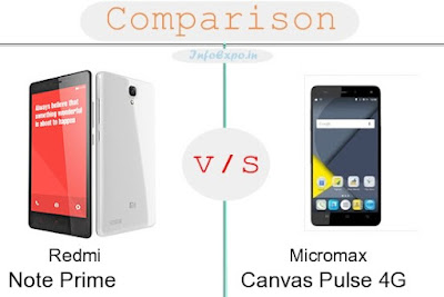Redmi Note Prime versus Micromax Canvas Pulse 4G specifications and features comparison RAM,Display,Processor,Memory,Battery,camera,connectivity,special feature etc. Compare Micromax Canvas Pulse 4G and Redmi Note Prime in all features and price,Shopping offers,coupens.