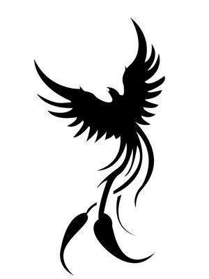 Phoenix Tattoo Black and White