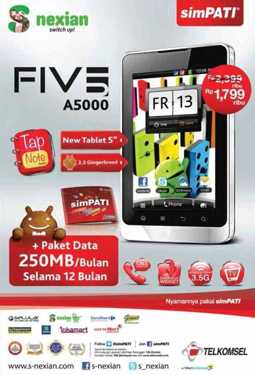 Review Harga S Nexian Five A 5000 HP TV Android Murah