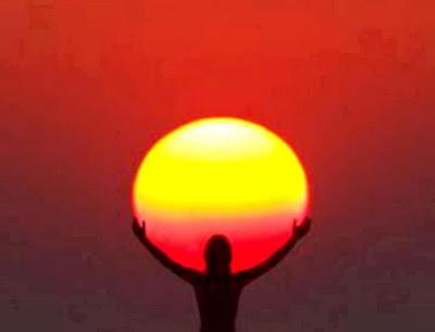 Holding Sun Optical Illusion