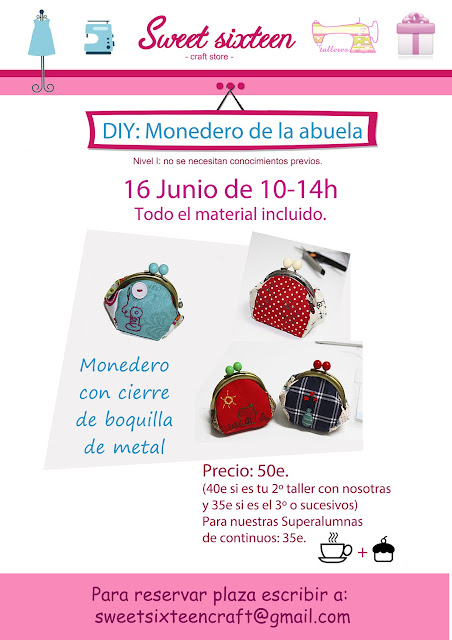 Taller monedero de boquilla metalica, sweet sixteen craft store. Madrid