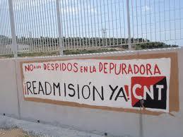 CNT contra los despidos en la depuradora de Mazarrón