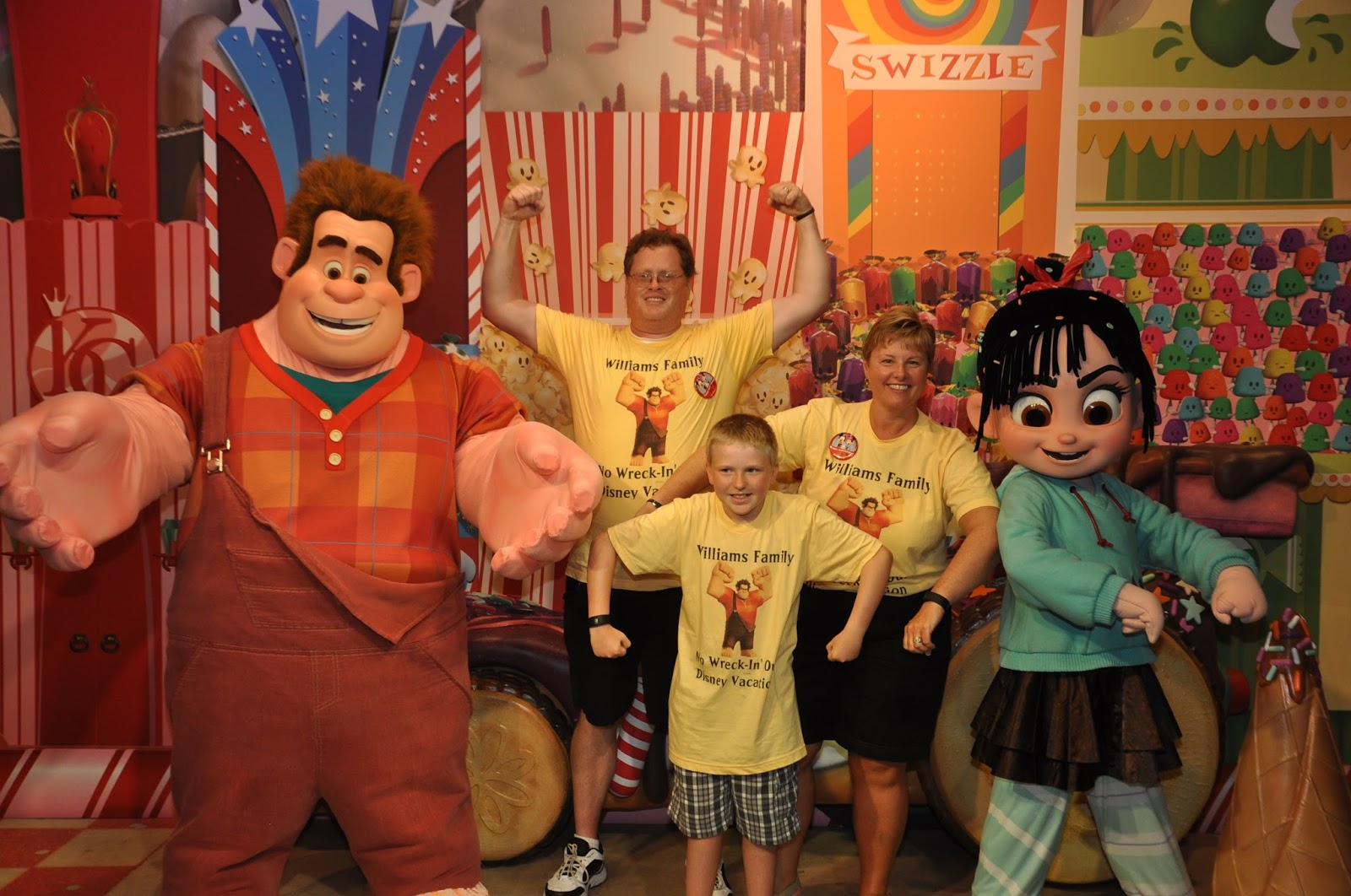 Williams family do you wear shirts to match the characters you meet longer answer there is much more planning and thinking that goes on behind that magical picture of us meeting ralph wearing shirts with ralph on them kristyandbryce Choice Image
