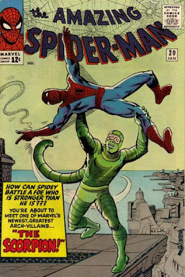 Amazing Spider-Man #20, on his first appearance, the Scorpion holds the helpless Spider-Man aloft, ready to finish him off, origin