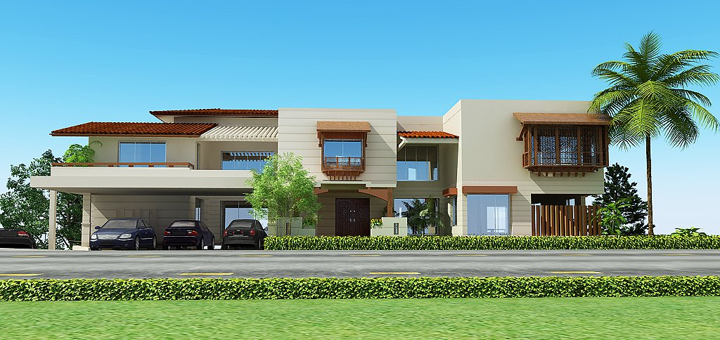 3d front lahore pakistan 3d front elevation for House elevation models