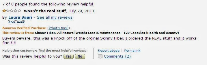 Fake Skinny Fiber On Amazon