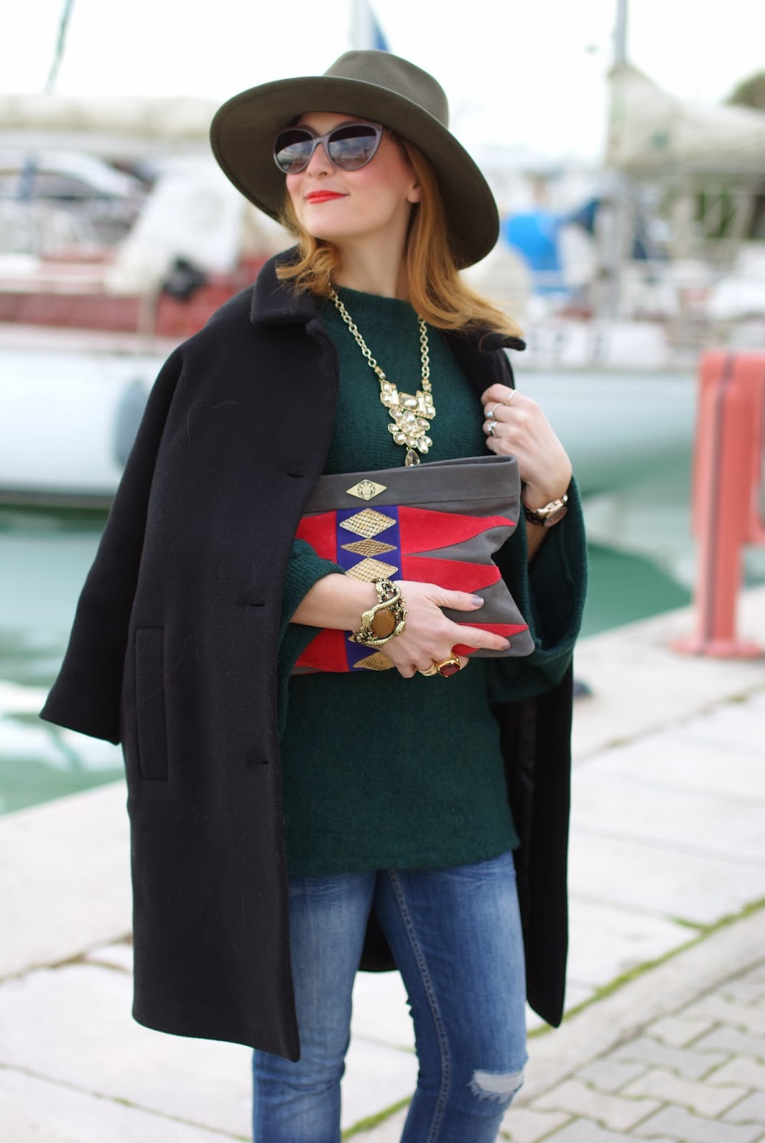 Ecua-Andino australian hat, Zara kimono sweater, Mohekann Navajo clutch, Fashion and Cookies, fashion blogger