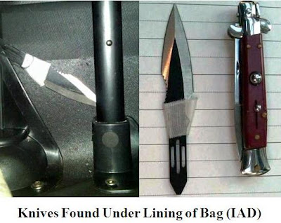 A switchblade and a boot knife were detected under the lining of a carry-on bag at Washington Dulles (IAD).