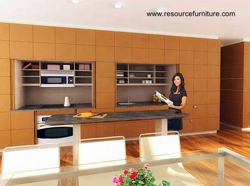 Arquitectura de casas moderna cocina oculta en un mueble for Mueble que se convierte en mesa