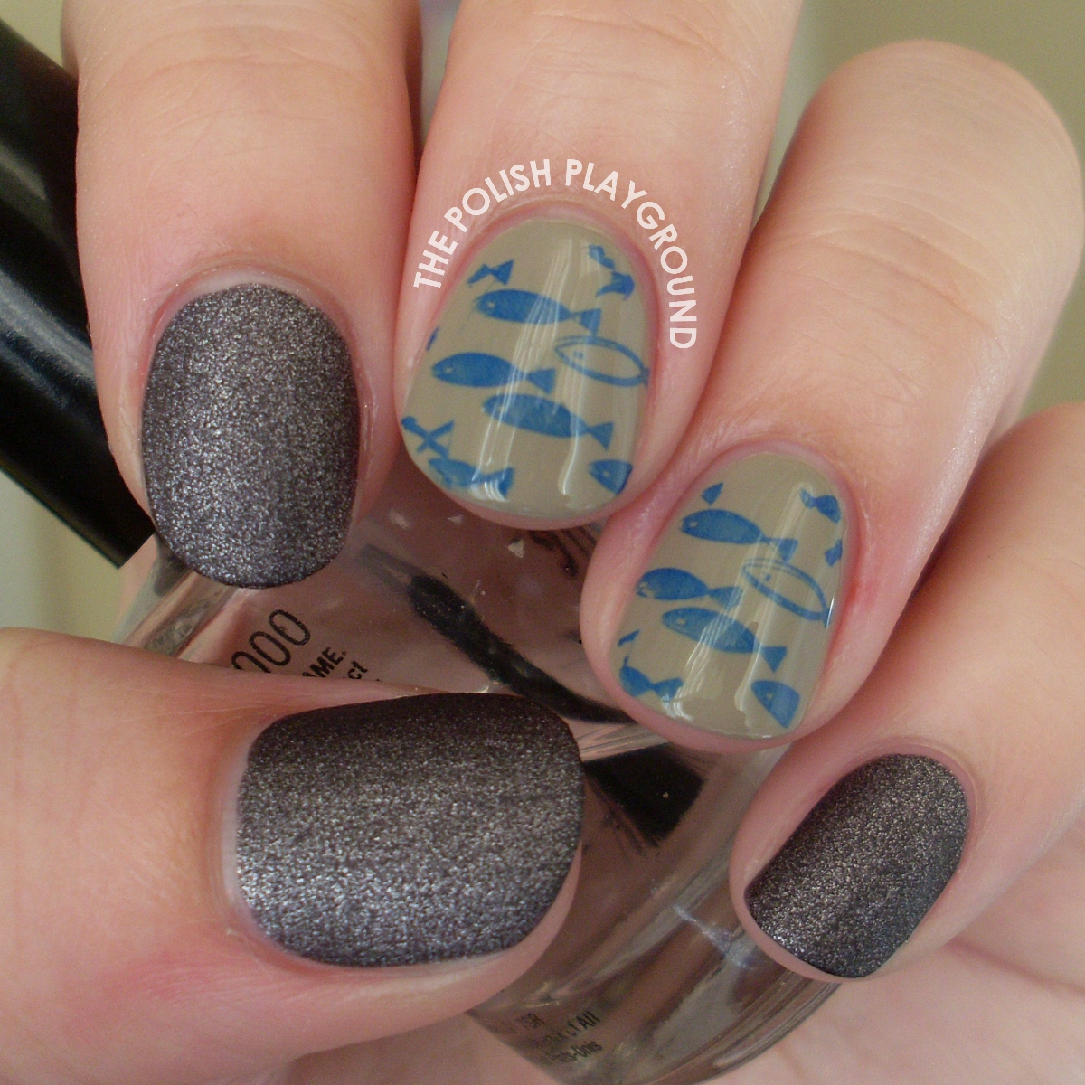 Blue Swimming Fish Stamping Nail Art