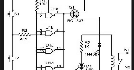 wiring schematic diagram  long delay timer using ic 4011 nand gates