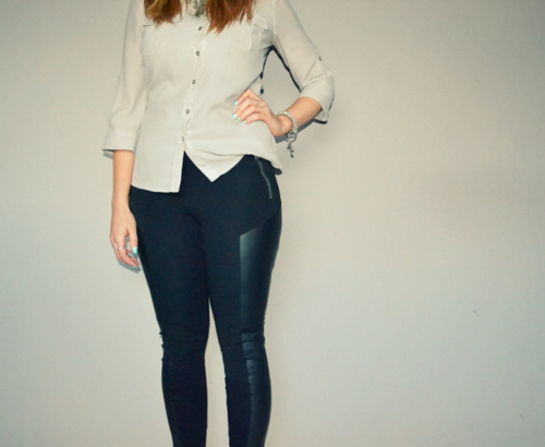 grey-shirt-leather-leggings