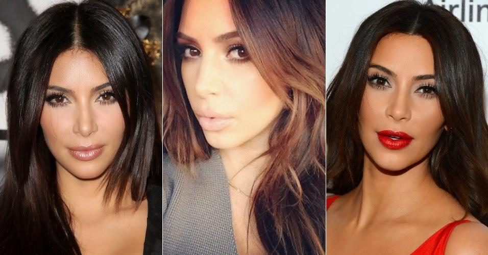 Kim Kardashian sustenta um look perfeito. Os longos cabelos castanhos, sempre texturizados para unir movimento e glamour, juntam-se à maquiagem construída para disfarçar pequenas imperfeições e ressaltar os traços da socialite