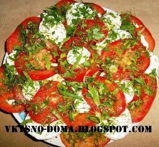 Салат из помидор и яиц по-французски