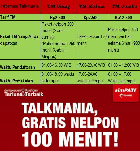 Cara TM (Talkmania) SimPATI: Info Lengkap Tarif dan Jenis Paket