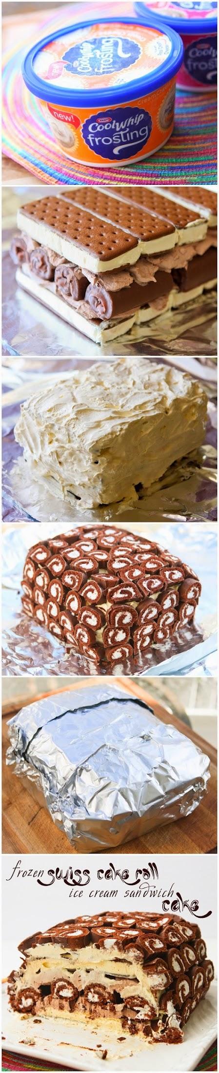 Frozen swiss cake roll ice cream sandwich cake